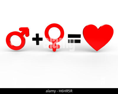 Man and woman equals love - Stock Photo