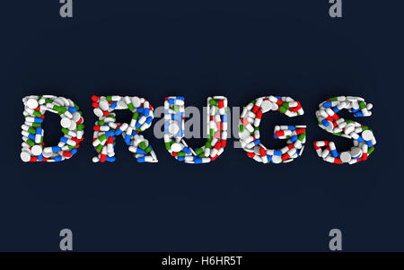 3d render of pills and capsules arranged to form word 'Drugs' - Stock Photo