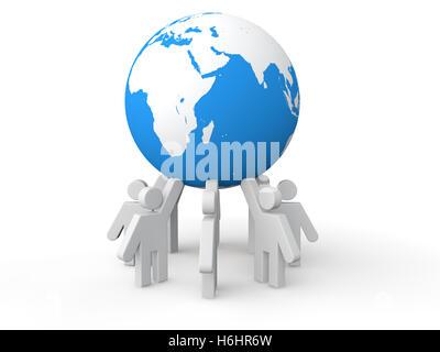 3D men holding earth globe - Stock Photo