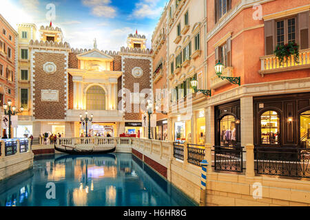 The Grand Canal Shoppes inside the Venetian Hotel, Cotai, Macao. - Stock Photo