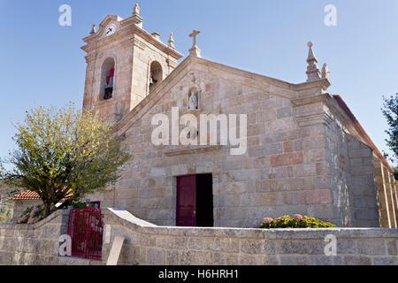 Facade of the pre-Romanesque Church of St Mary of Visitation (Santa Maria da Visitacao) in the village of Castro - Stock Photo