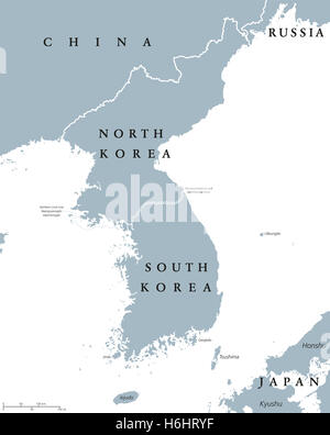 Political Map Of Japan North Korea And South Korea With The