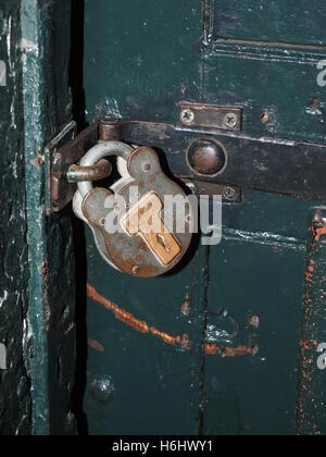 antique padlock on jail cell door in Kilmainham Gaol Jail Museum Dublin Ireland Europe - Stock Photo