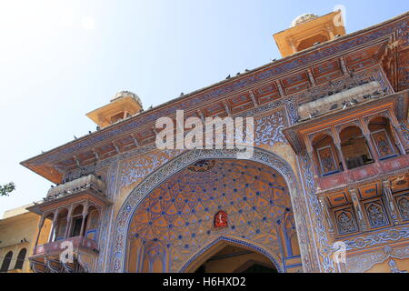 Naqqar Darwaza (Drum Gate), Jaleb Chowk, Jaipur, Rajasthan, India, Indian subcontinent, South Asia - Stock Photo