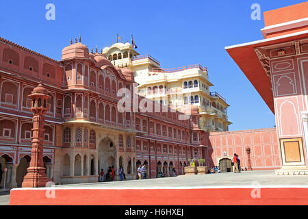 Riddhi-Siddhi Pol and Chandra Mahal, City Palace, Jaipur, Rajasthan, India, Indian subcontinent, South Asia - Stock Photo