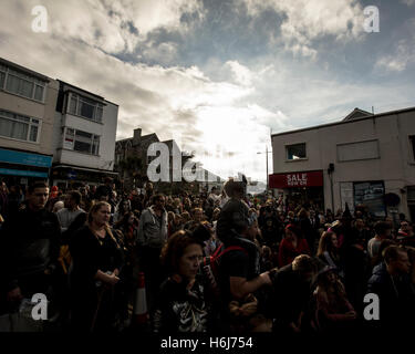 Newquay, Cornwall, UK. 29th Oct, 2016. Zombie walk in Newquay, Cornwall, 29 October, 2016. Credit:  MPAK/Alamy Live - Stock Photo
