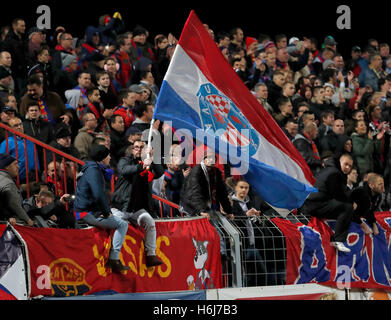Budapest, Hungary. 29th October, 2016. The supporters of Vasas FC watch the game during the Hungarian OTP Bank Liga - Stock Photo