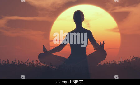 The silhouette of a girl doing yoga on a field at sunset.  This is a 3d render illustration - Stock Photo