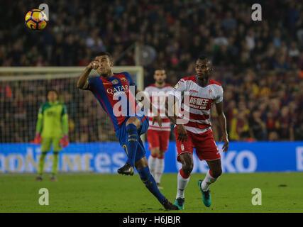 Rafinha kicks the ball. FC Barcelona defeated Granada 1-0 with goal scored by Rafinha at the 47th minute. Liga Santander - Stock Photo