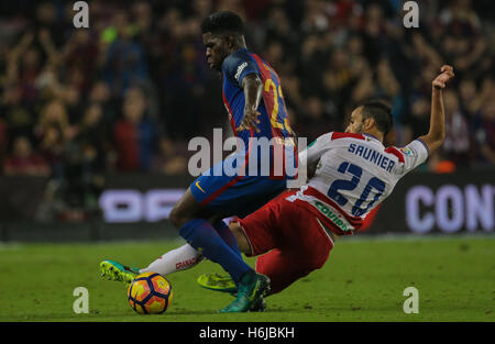 Tackling of Saunier to Umtiti. FC Barcelona defeated Granada 1-0 with goal scored by Rafinha at the 47th minute. - Stock Photo