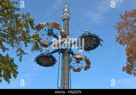The new Fatamorgana ride in the Tivoli Gardens, Copenhagen, Denmark, in the autumn during the Halloween theme season. - Stock Photo