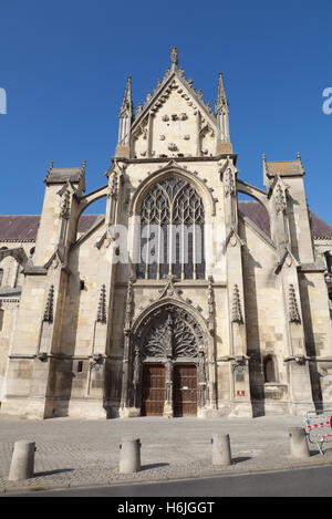 Façade of Basilica St. Remi, Reims, France. - Stock Photo