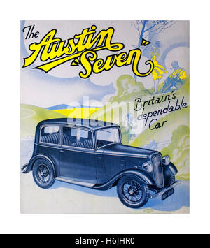 Vintage poster for the Austin 7 an economy saloon car produced from 1922 until 1939 in the United Kingdom by Austin. - Stock Photo
