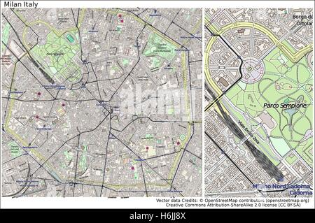 Urban vector city map of Milan, Italy Stock Vector Art ...