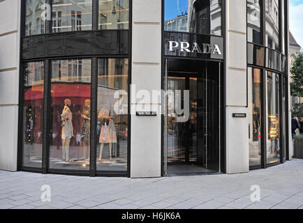 VIENNA, AUSTRIA - JUNE 6: Prada front store in the shopping street of Vienna on June 6, 2016. Prada is a world famous - Stock Photo