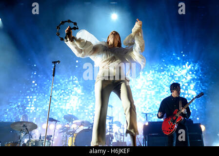 BENICASSIM, SPAIN - JUL 16: Florence and the Machine (pop band) in concert at FIB Festival on July 16, 2015 in Benicassim, - Stock Photo