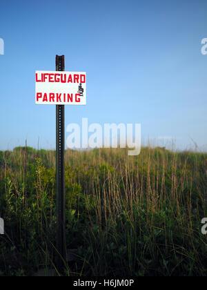 sign for lifeguard parking at Ditch Plains Beach Montauk New York - Stock Photo