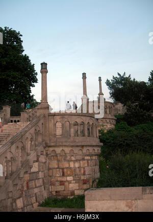 famous stone stairway steps in Kalemegdan Fortress Park Belgrade, Serbia, Europe - Stock Photo