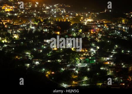 Night view of the mountainous town of Metsovo, in Ioannina prefecture, Epirus region, Greece. - Stock Photo