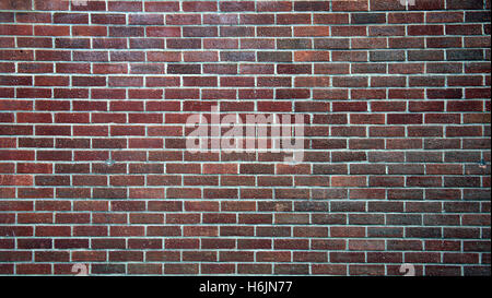 Red brick wall background white lines - Stock Photo