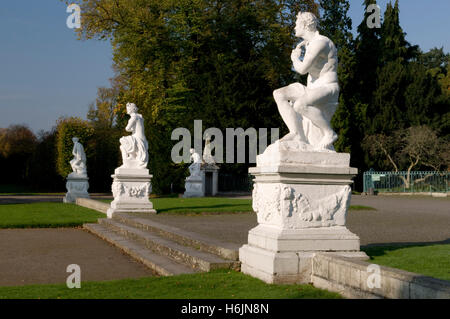 Sculptures in the park of Schloss Benrath castle, Duesseldorf, capital city of North Rhine-Westphalia - Stock Photo