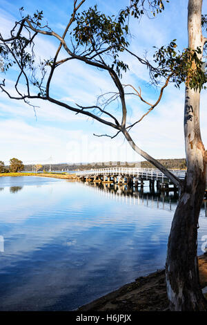 Scenic view of Wallaga Lake near Bermagui, New South Wales, NSW, Australia - Stock Photo