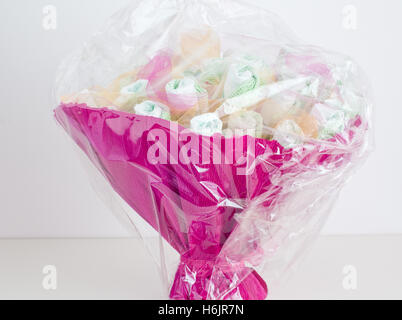 Beautiful basket made with diapers for children - Stock Photo