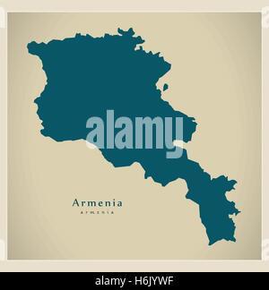 Modern Map - Armenia AM - Stock Photo