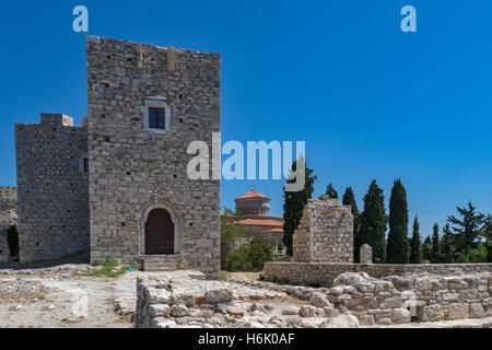 Scenic view of Lykourgos Logothetis Castle Pythagorion Samos Greece - Stock Photo