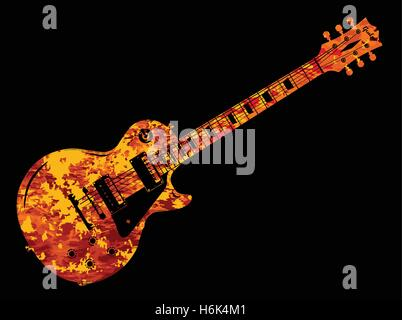 An electric guitar in a flame style on a black background - Stock Photo