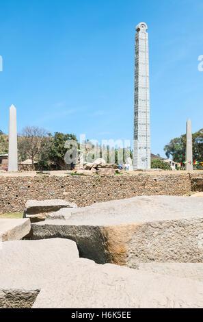 Ethiopia, Axum, the stelas of the archaeologica site - Stock Photo