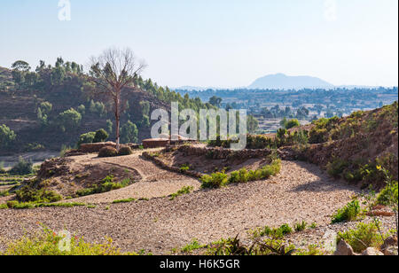 Ethiopia, Adigrat, farmer houses in the outskirts of the village - Stock Photo
