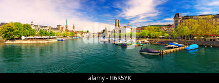 View of historic Zurich city center with famous Fraumunster and Grossmunster Church, Limmat river and Zurich lake, - Stock Photo