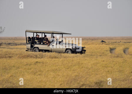 Tourists on safari in Africa - Stock Photo