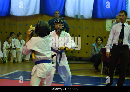 Orenburg, Russia - 30 October 2016: Boys compete on nunchaku in the Championship and city Championship on Kobudo - Stock Photo