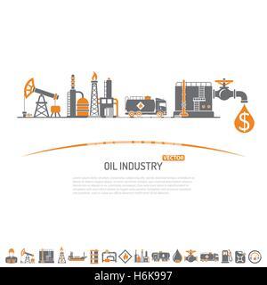 Oil industry Concept with Two Color Flat Icons extraction production and transportation oil and petrol. isolated - Stock Photo