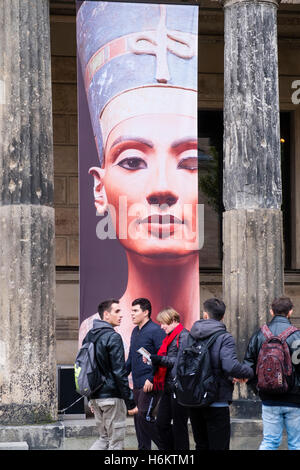 Exterior of Neues Museum with poster advertising Nefertiti bust on Museum Island ( Museumsinsel) in Mitte Berlin - Stock Photo