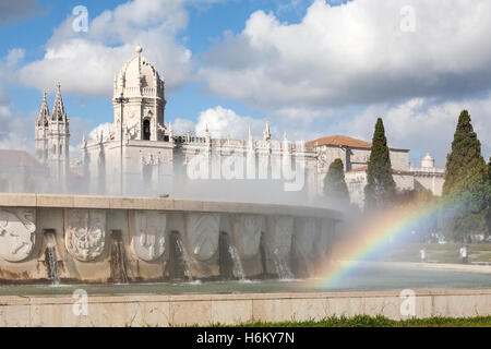 The Jeronimos Monastery aka Hieronymites Monastery, Belem, Lisbon, Portugal - Stock Photo