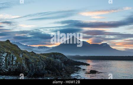 Sunset in the fishing village of Djupavogur, Iceland - Stock Photo