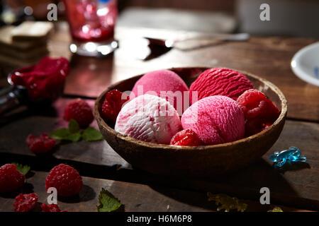 Strawberry and Vanilla ice-cream - Stock Photo