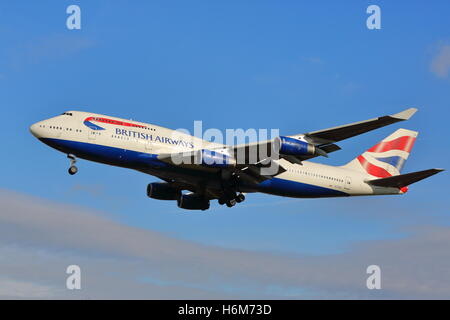 British Airways Boeing 747-400 G-CIVE landing at London Heathrow Airport, UK - Stock Photo