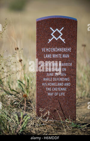 Headstone of a Cheyenne Indian Warrior, Little Bighorn Battlefield National Monument, Montana USA