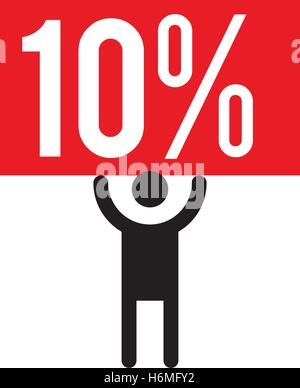 10 Percent and Man Icon Concept Design - Stock Photo