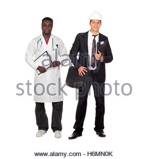 Two adult workers. African American doctor and Caucasian architect isolated on white background - Stock Photo