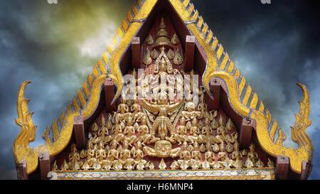Vishnu Garuda On the gable of the temple in Wat Na Phra Meru. Asian Culture. - Stock Photo