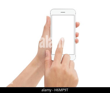 hand touch phone isolated with clipping path on white background, mock-up phone blank screen - Stock Photo