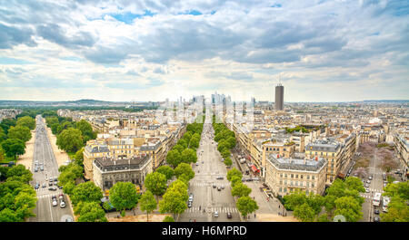 La Defense business area, La Grande Armee avenue. View from Arc de Triomphe. Paris, France, Europe. - Stock Photo
