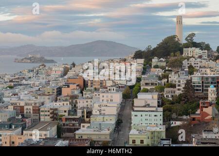 Telegraph Hill and North Beach Neighborhoods - Stock Photo