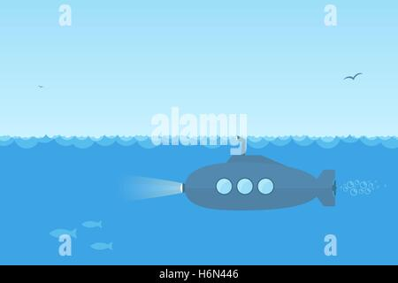 Flat, simple blue submarine swimming under the ocean with periscope. - Stock Photo
