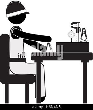 engineer sitting with measuring elements vector illustration - Stock Photo